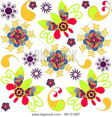 Paisley And Flowers And Seamless Pattern In Swatch Menu, Vector Illustration