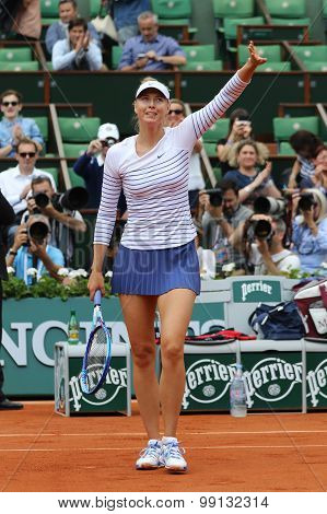 Five times Grand Slam champion Maria Sharapova during second round match at Roland Garros 2015