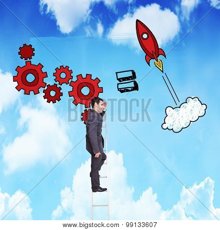 Happy businessman standing on ladder against bright blue sky