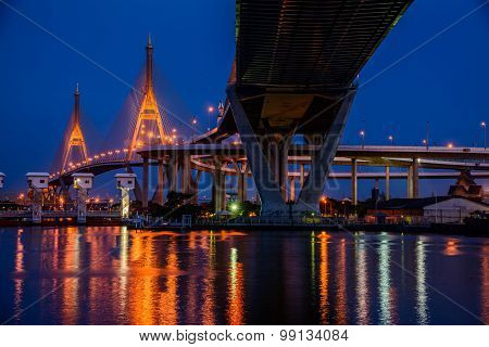 Bhumibol Bridge, Bangkok, Thailand,The bridge crosses the Chao Phraya River twice.