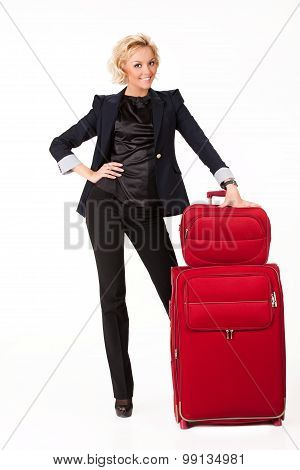 Young Woman With Suitcases