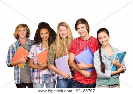 College students holding books in library against white background with vignette