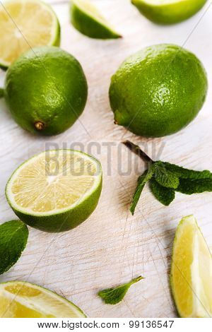 Citrus, sour. Lime on the table