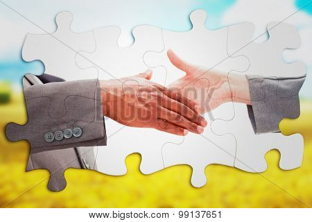 Businessman going shaking a hand against golden fields
