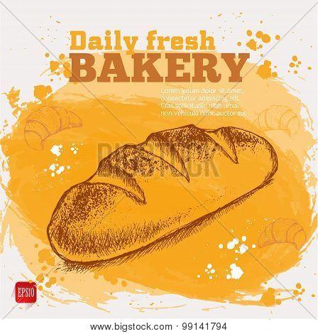 Vector sketch of fresh bread