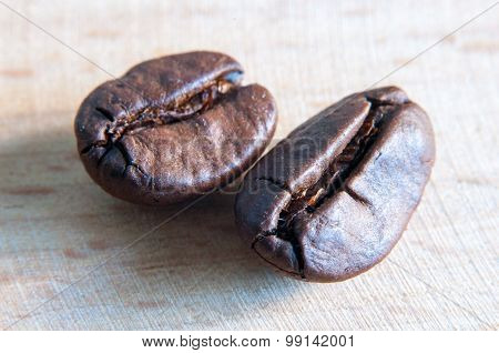 black coffee beans. Macro photo