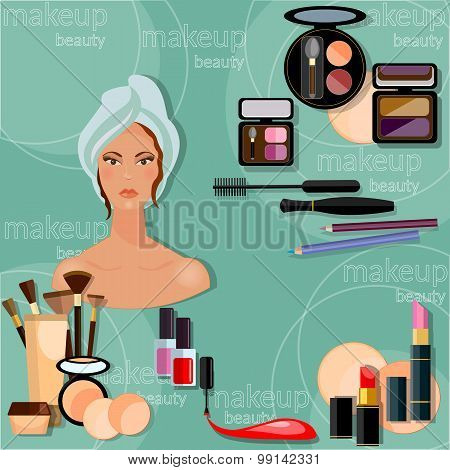 Make-up Beautiful Woman Face Proffesional Makeup Collection Cosmetic Cosmetology Nail Polish