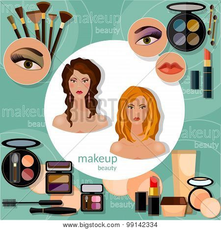 Make-up Beautiful Woman Face Brunette Blonde Model Professional Set Of Cosmetics  Cosmetology