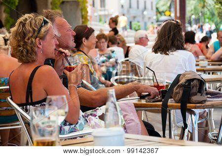 People in a cafe in Palma de Majorca, Spain