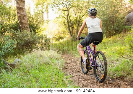 Athletic brunette mountain biking on path in the nature