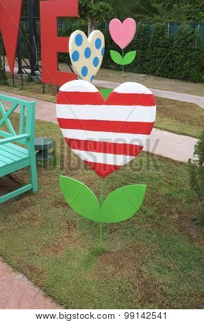 Decoration banner in shape of heart tree