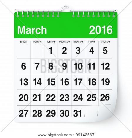 March 2016 - Calendar.