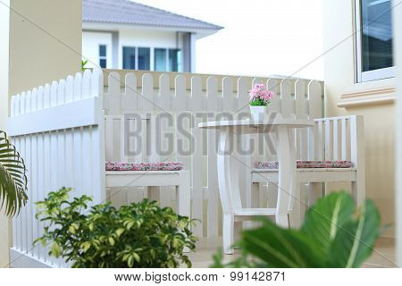 Interior White Living Room In Backyard At Home