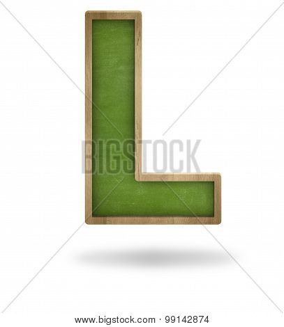 Green blank letter L shape blackboard
