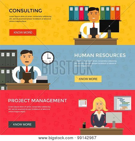 Web Banners For Business Work, Start Up And Project Management In Flat Design