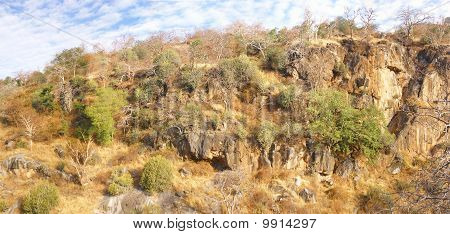 Sparse Brush Clings To Barren Rocky Hillsides