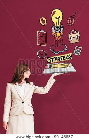 Businesswoman showing a book against red background
