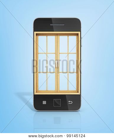 Concept Of A Window In New Vision. The Wooden Window In The Screen Of Smartphone.