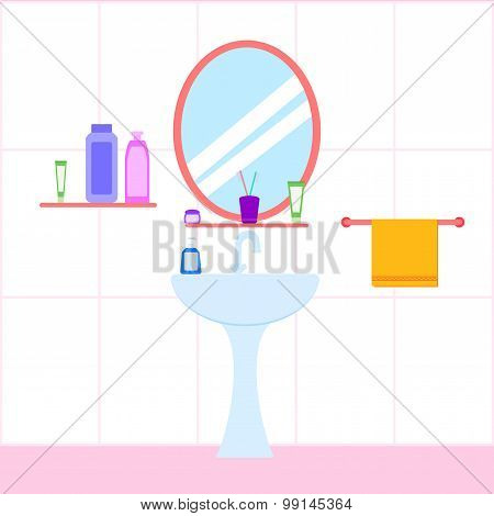 Flat Bathroom Sink With Mirror, Bottle,, Soap, Toothbrush. Vector