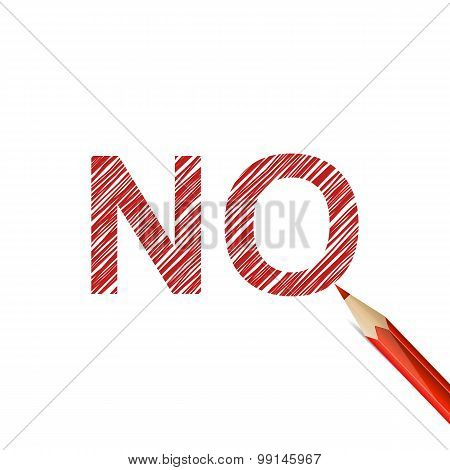 NO word drawn with red pencil