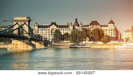view on the chain bridge on the Danube river