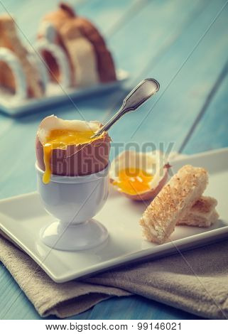 Soft boiled egg with toast rack