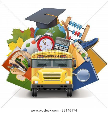 Vector School Concept With Bus