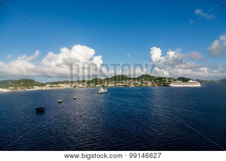 Tanker And Cruise Ship In Brilliant Blue Water