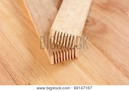 Finger Joint At The End Of Wood Sticks (or Lumber)- One Of Woodworking Joint