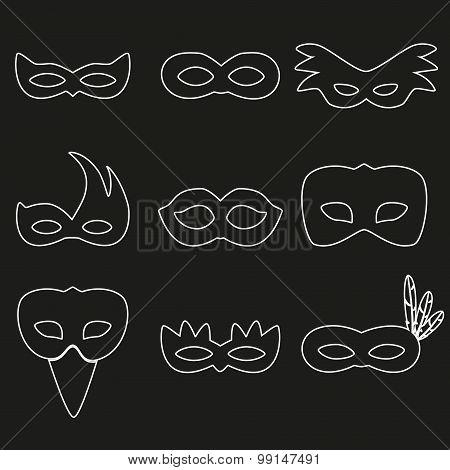 Carnival Rio White Outline Masks Design Eps10