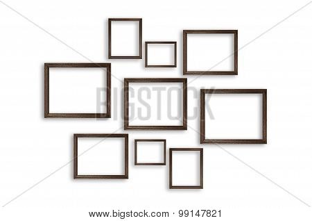 Wooden Photo Frames On White Background