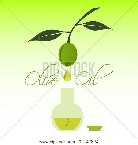 Green Natural Olive Oil Production Drip To Bottle Eps10