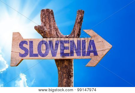 Slovenia wooden sign with sky background