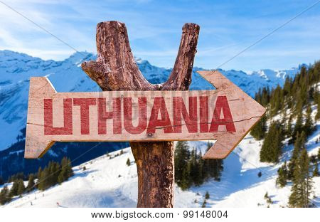 Lithuania wooden sign with winter background