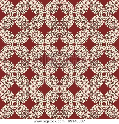 Floral White Pattern On A Brown Background