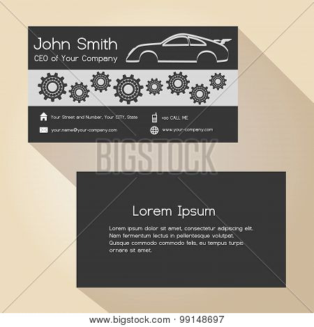 Car Store And Mechanic Garage Simple Business Card Design  Eps10