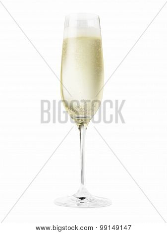 Champagne In Glass Cut Out. - Stock Image