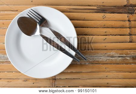 Empty Dish With Spoon And Fork