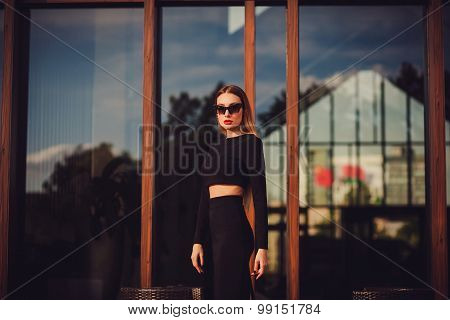 Beautiful Sexy Young Business Woman. Copy Space