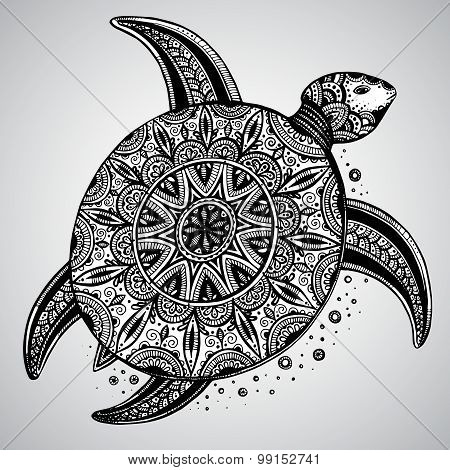 Hand Drawn Vector Monochrome Doodle Turtle Decorated With Oriental Ornament.