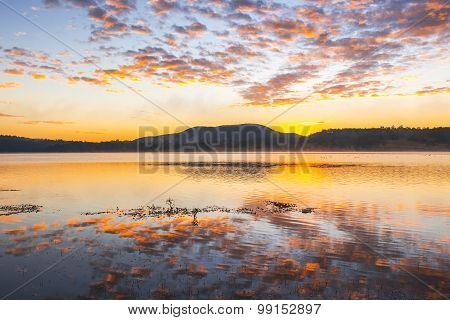 Colourful sunrise at Lake Moogerah in Queensland