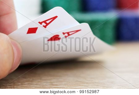 Poker Hand With Two Aces And Chips