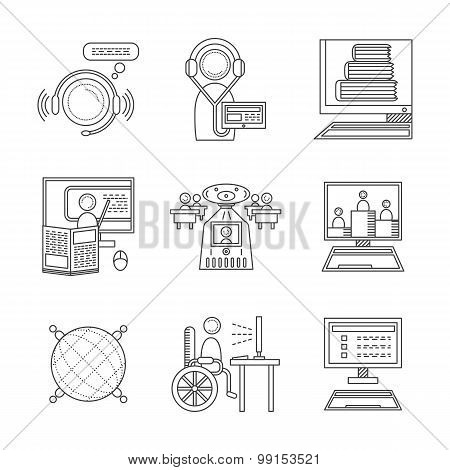 Distance education thin line vector icons