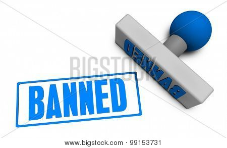 Banned Stamp or Chop on Paper Concept in 3d