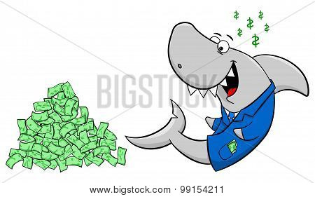 Smiling Cartoon Financial Shark