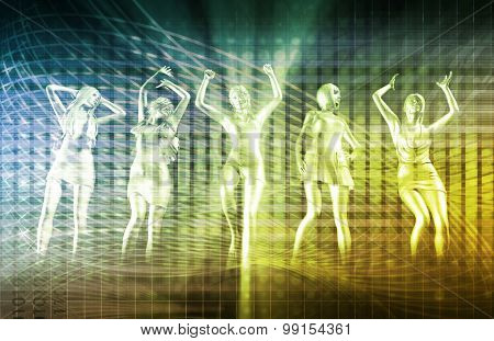 Nightclub Dancers Dancing to the Music Concept
