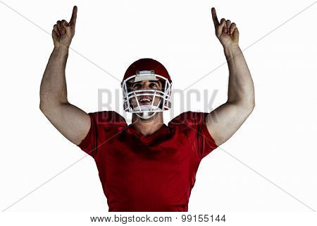 American football player cheering on white background