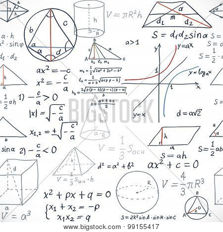 Seamless Pattern Of The Formulas On The Geometry Isolated On White Background
