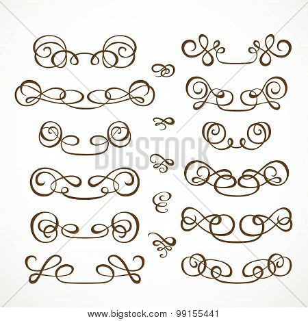Set Calligraphic Elements For Design On A White Background