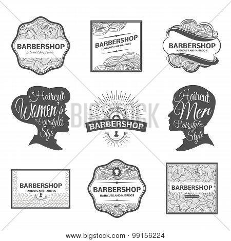 barber shop labels and logos